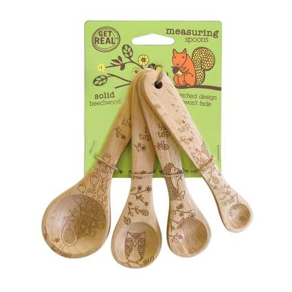 laser engraved wooden measuring spoons