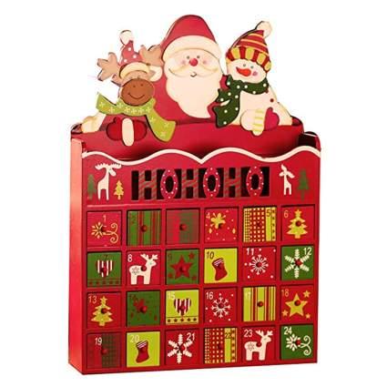 santa and friends wooden advent calendar