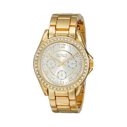 goldtone crystal encrusted watch