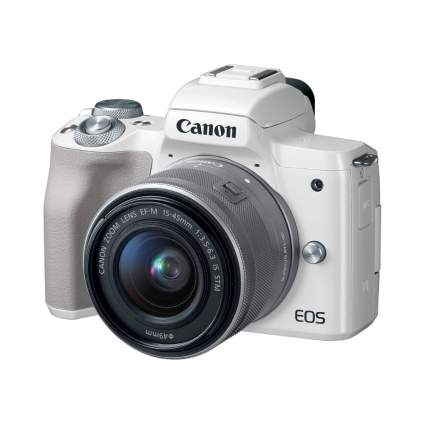 $300 Off Canon EOS M50 Mirrorless Camera Kit w/ EF-M15-45mm Lens and 4K Video (White)