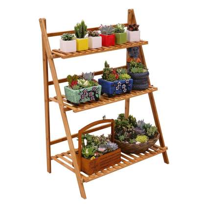 Wood latter planter holder