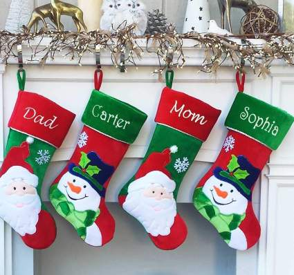 monogram christmas stocking snowman