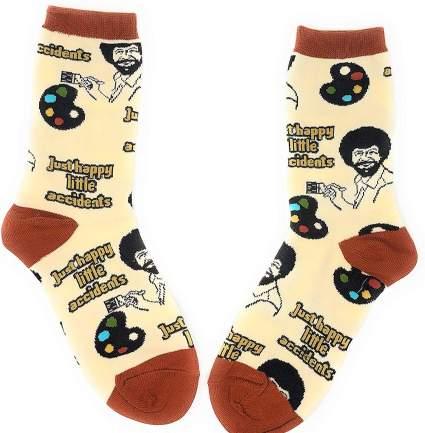 Bob Ross Novelty Funny Socks Christmas