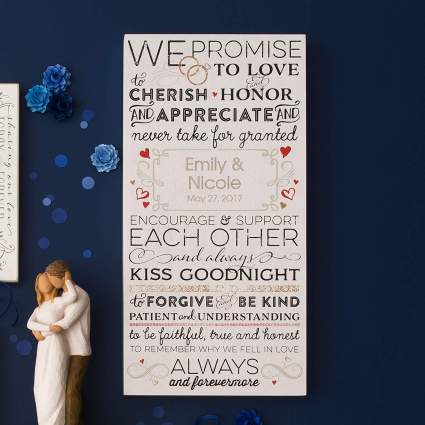 personalized wedding vow art