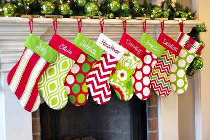 red and green personalized stocking