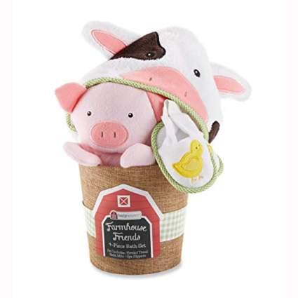farm friends baby bath gift set