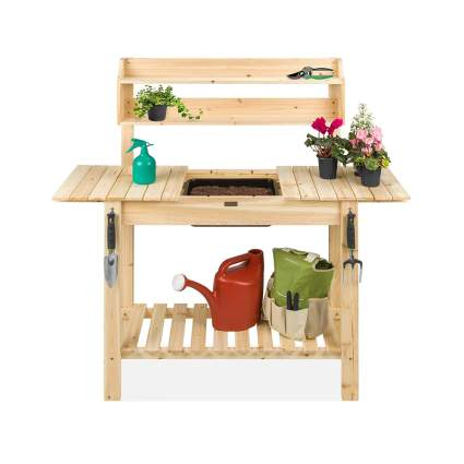 wood potting bench with dry sink