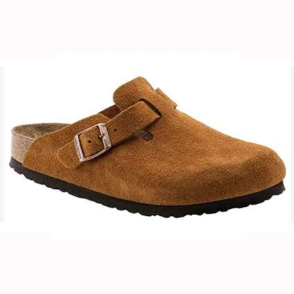 brown leather unisex clogs