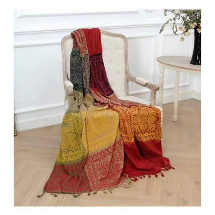 bohemian chenille throw blanket