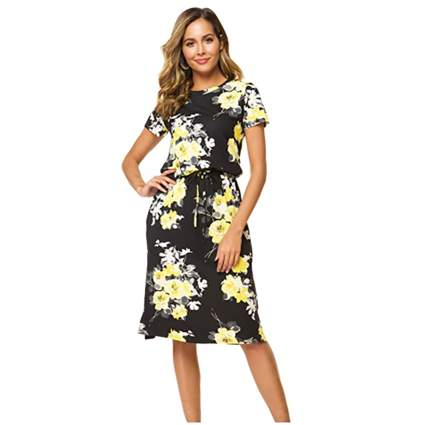 floral drawstring waist dress with pockets