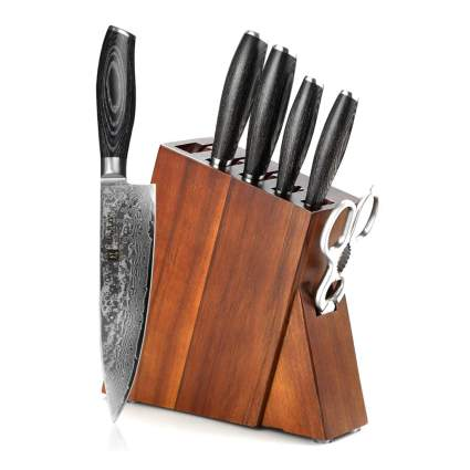 Damascus steel knife block set