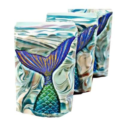 Colorful mermaid tail soap