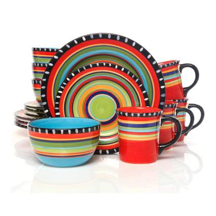 multicolor stoneware set