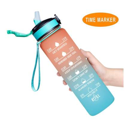 Peach and blue water bottle