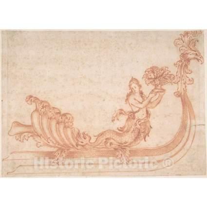 Historic vintage mermaid drawing