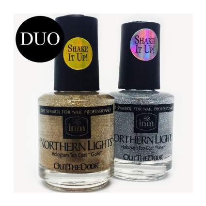 Two bottles of silver and gold holographic nail polish