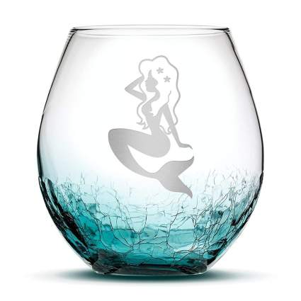 Blue crackle mermaid wine glass