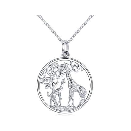 Silver giraffe necklace