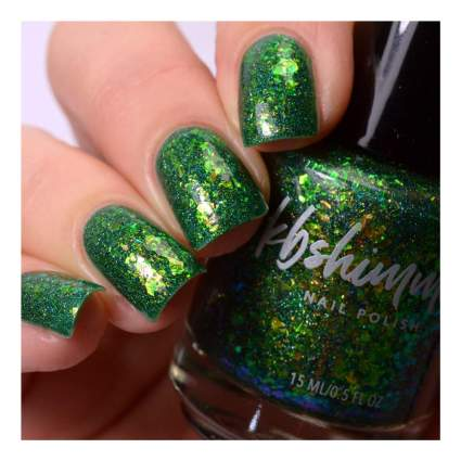 Green glittery nail polish swatch