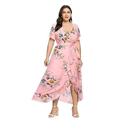 floral plus size wrap dress