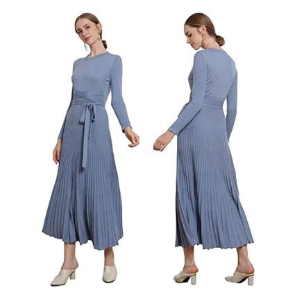 pleated cashmere sweater dress