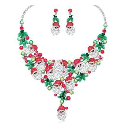Santa bib necklace and earring set