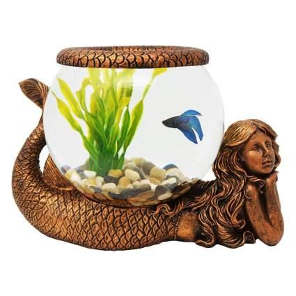Bronze mermaid fishbowl