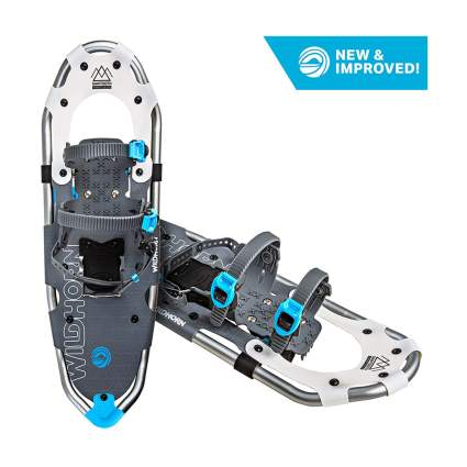 White and blue snowshoes