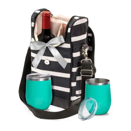 wine totebag with stainless glasses