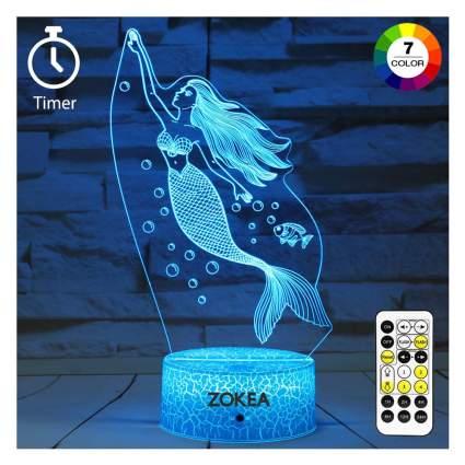 Blue LED mermaid night light