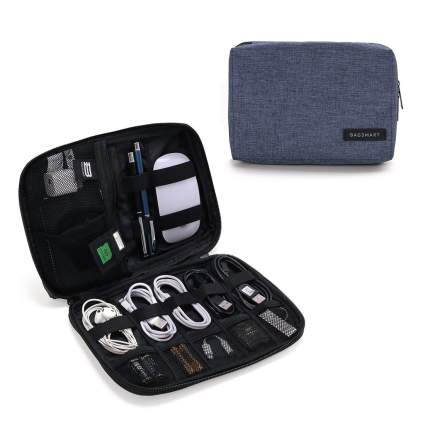 Dark blue and black cable organizer