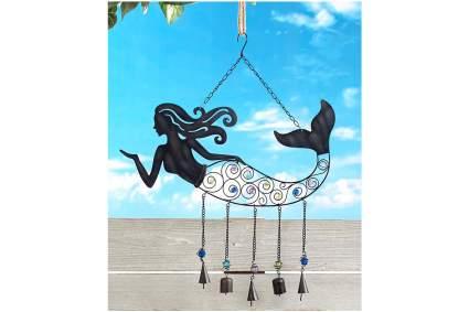 Metal mermaid chime with bells