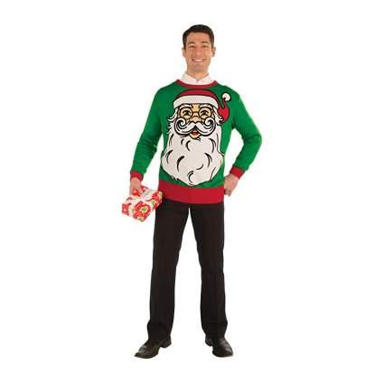 Man in Santa face sweater