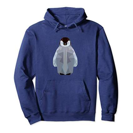 Blue hoodie with penguin