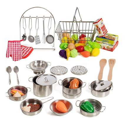 Play set of pots and pans wth food