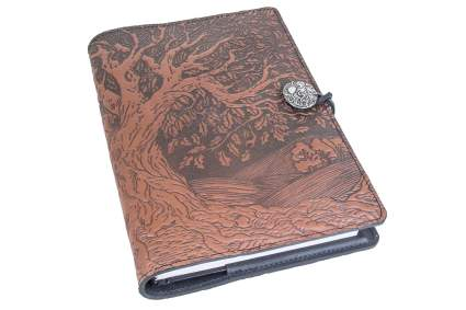 Brown leather journal with tree of life