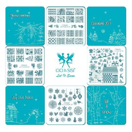 Blue and white square nail stamping plates