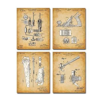 Four sepia tone tool illustrations