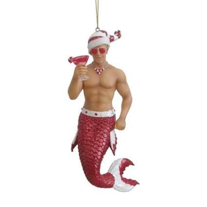 Candy cane merman ornament