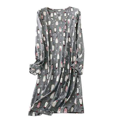 Grey nightgown with penguins