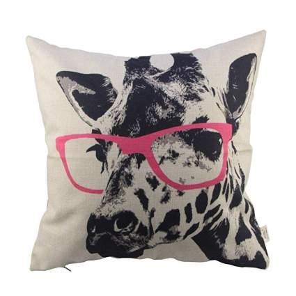 Pillow of a giraffe wearing glasses