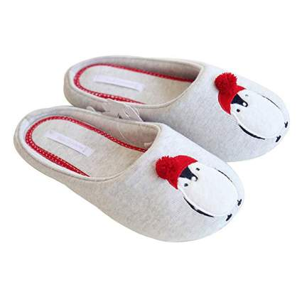 Light colorled penguin slippers