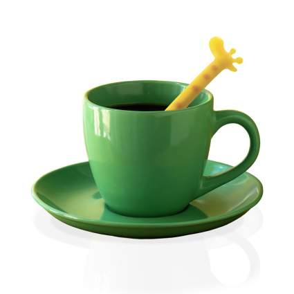 Green tea cup with giraffe spoon