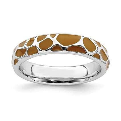 Giraffe print silver ring