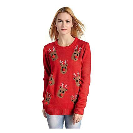 Red funny christmas sweater with reindeer heads