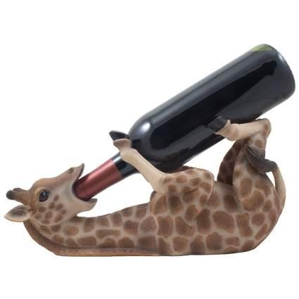 Giraffe drinking wine
