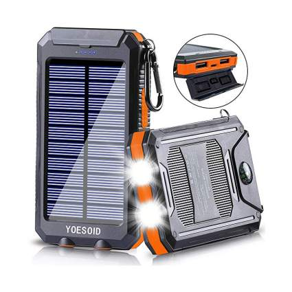 Orange solar phone charger