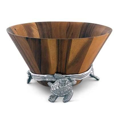 acacia salad bowl with sea turtle stand