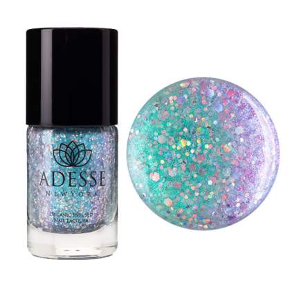Teal and purple glitter nail polish