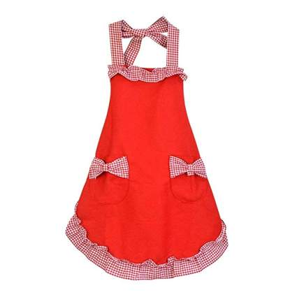 red and w hite adjustable bib apron with pockets